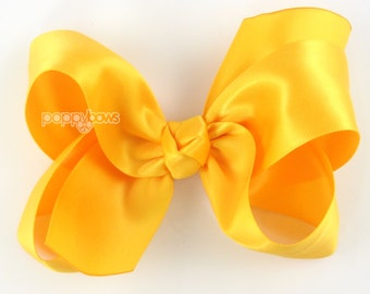 "Girls Hair Bow - 4 Inch Satin Hair Bow - Golden Yellow hair bow - toddler hair bow - baby girls hairbow - big hair bow 4"" hair bows boutique"