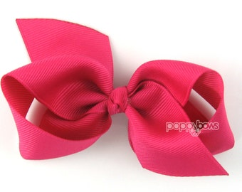 Girls Hair Bow - shocking pink hair bow - Loopy Bows - large hair bows - big hair bows - bows for girls - toddler hair bows - 3.5 inch bows