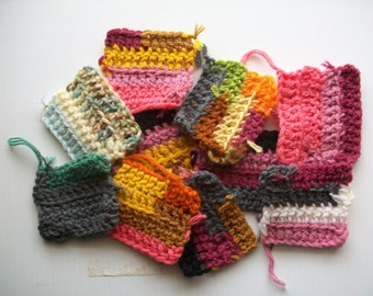 10 crochet patches made with scrap yarn . double crochet stitched patches . scrap crochet pieces . crochet patches for crafts