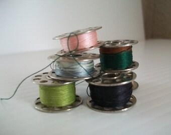 6 sewing machine bobbins | sewing supplies | metal bobbins | steampunk supplies | vintage sewing bobbins | metal thread bobbins