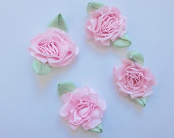 Baby pink and green Satin Rosettes- 4 pcs