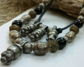 Old Metal Fertility Bead & Black Onyx Necklaces
