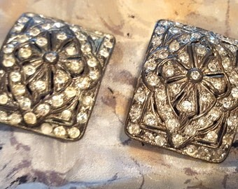 Lovely Vintage 192ps Art Deco Rhinestone Shoe Clips. Holdfast Pat Pending