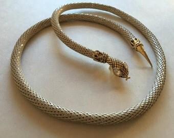 White Painted Gold Mesh Snake Belt/Necklace with Rhinestone Eyes