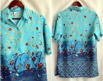 Men Dress Shirt S-M Vintage Thaiti Tunic Long Floral Summer Cotton Button Top