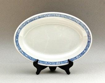 1950 Shenango China Rimrol Large Oval Plate 50s Restaurant Ware Blue White Woodland Design New Castle PA Midcentury Serving Platter