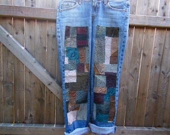 Patchwork jeans, fabric patches, patched denim, up cycled, boho, my art your jeans. DIY patching, trendy denim, patches for jeans