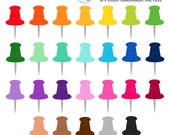 Rainbow Push Pins Clipart Set - pins clip art, rainbow pins, pushpins, pin, push pin - personal use, small commercial use, instant download