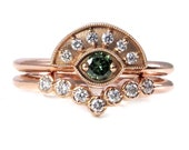 Green and White Diamond Evil Eye Engagement Ring Set - 14k Rose Gold