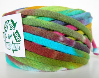 Recycled T Shirt Yarn, Multicolor Tie Dye 42 Yrds, T- Shirt Yarn, Tarn