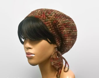 Easy Crochet Slouch Hat Pattern with optional drawstring/Beanie/Tam