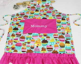 Personalized and Ruffled Teal Sweet Cupcakes Adult Apron with hot pink pocket and ruffle - made to order