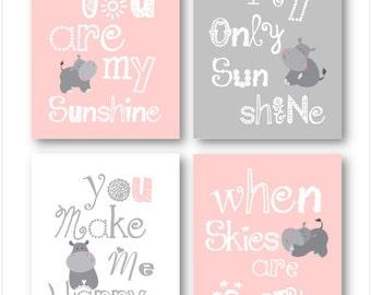 Art for Kids Room // Hippo Wall Art for Kids // You are my sunshine Art // Light Pink and Gray Decor // Nursery Art Prints // 4-8x10 PRINTS