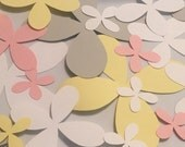 Ready to ship, 20 paper wall flowers, pink, yellow, gray and white, sophia collection wall flowers