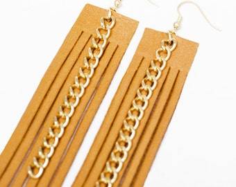 SPRING SALE!! / 20% OFF!! / Camel Fringe and Gold Chain Earrings by Jessica Galindo