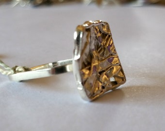 Sterling Silver Handmade Ring Tangled Web Texture on a Square band