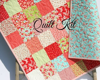 Baby Girl Quilt Kit, Little Ruby Bonnie and Camille for Moda Fabrics, Blue Pink, Cottage, Beginner Patchwork DIY Do It Yourself Shabby Chic
