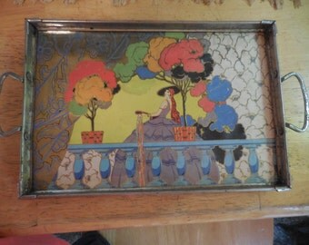 Vintage 1920s Art Deco/Art Nouveau Colorful Glass and Metal Tray Silver Tone Orange/Blue/Gold/Black/Yellow Handles Footed Decorative