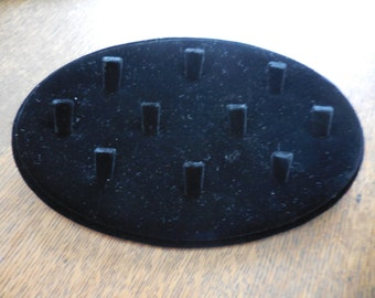 Black Velvet Over Wood 10 Ring Holder Display Craft Fair/Shows/Store/Boutique Oval Small Gently Used