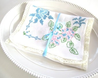 Vintage Handmade White Linen Runner Dresser Scarf Table Runner Blue with Pink and Green Embroidery with Cream Lace Edge Trim