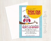 Night Owl Pajama Party Custom Birthday Invitation