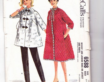 McCalls 6588 Vintage Misses Robe and Pants Two Lengths Bust 31 1/2 Lounge Clothes
