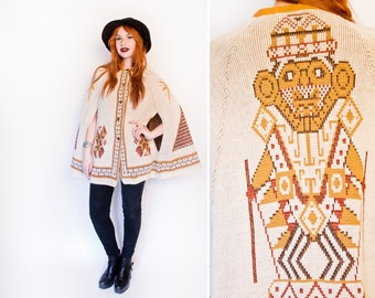 Vintage 1960s Cape - Brown Kachina Doll Tribal South West Sweater Knit Poncho - 60s / 70s