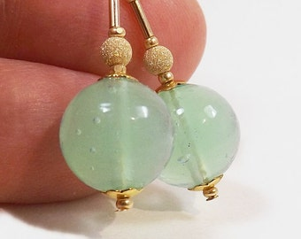 Light Green Murano Glass Bead Earrings, 1 1/8 inch (2.8cm) Drops, Translucent Italian Round Glass Dangles with Gold Bead Accents