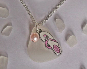 Pink flip flop necklace - beach glass necklace- sea glass jewelry - flip flops.