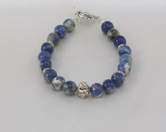 Sodalite Bracelet.  Hypoallergenic Jewelry.  Blue Jewelry