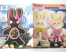 Stuffed Bunny Doll Pattern McCalls Creates 15049, 24 inch Plush Doll Sewing Pattern, Easter Bunny Sweeties, Boy & Girl Bunny Clothes, 1990s