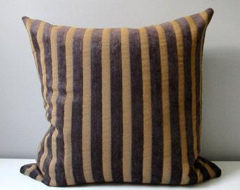 "SALE - Decorative Pillow Cover, Grey Black & Gold Stripe Pillow Case, Gunmetal Chenille Stripes, Silk Throw Pillow Case, Cushion Cover, 18"""