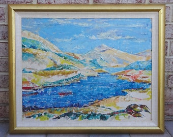 Mid Century Abstract Seascape Oil Painting on Canvas Signed Polestrant dated 1960