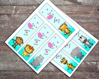 Zoo Animals Bookmark Valentines