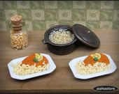 Dollhouse miniature schnitzel with noodles, 1:12 scale dollhouse food, dollhouse meal
