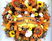 Fall Wreath-Candy Corn Wreath-Deco Mesh Wreath-Halloween Wreath-Door Wreath- Wall Wreath~Orange, Black, White,Yellow-Hand-painted Sign-Full