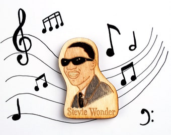 Stevie Wonder Wooden Motown Magnet
