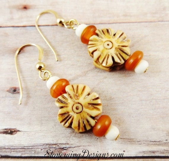 Rustic Boho Bone Flower and Horn Earrings