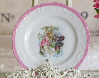 Pretty Antique FRENCH Couple Cabinet PLATE, Shabby Chic, French