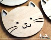 Wood cat coasters (set of 4) - Laser cut cat wood coasters, wooden cat coasters, cat housewarming gift, cat lover, cat decor, wood cat decor
