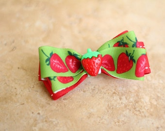 Strawberry Hair Bow - Made to Order