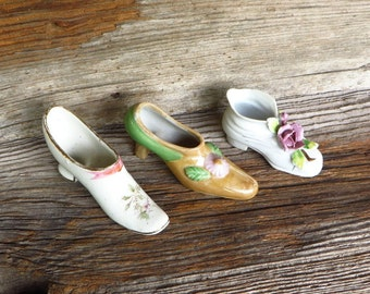 Minature Shoe Collection 3 Porcelain Hand Painted Tiny Shoes Shoes with Flowers 1950s Retro Kitsch Decor