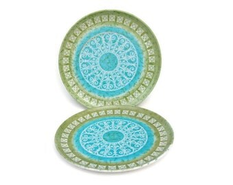 Melamine Plates, Kenro Dinner Plates, Aqua Green Plastic Plates, Pool Party