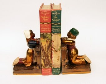 Vintage Metal Bookends, 1920s Ronson Bookends, Dutch Children Book Ends