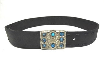 Black Leather Belt With Faux Turquoise Buckle