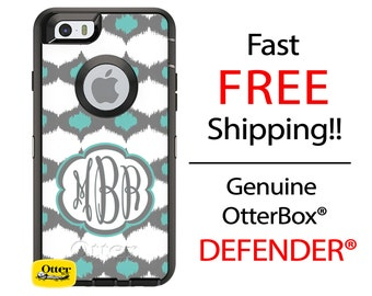 OtterBox Defender Series Phone Case for iPhone 6/6s, 6 Plus/6s Plus, 5/5s/SE, Samsung Galaxy Monogrammed iKat Moroccan Teal Monogrammed