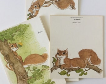 Saucy Squirrel Stationery Gift Set, Vintage Notepaper, Cards, Fold Overs, Current Company