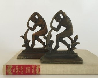Vintage Art Deco Metal Man Bookends, 1920's Cast Iron Metal Book Ends