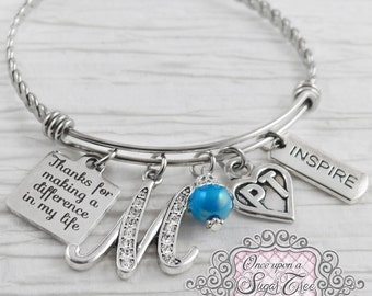 PT GIFTS , Thank you Bracelet, Physical Therapy Gifts, Letter Bangle Bracelet, Physical Therapist- Inspire, Therapist Gift, Special Needs