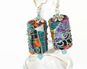 BOHO TEXTILE EARRINGS, hippie jewellery, boho jewellery, handmade beads, textile beads, festival earrings, upcycled jewellery, gift for her